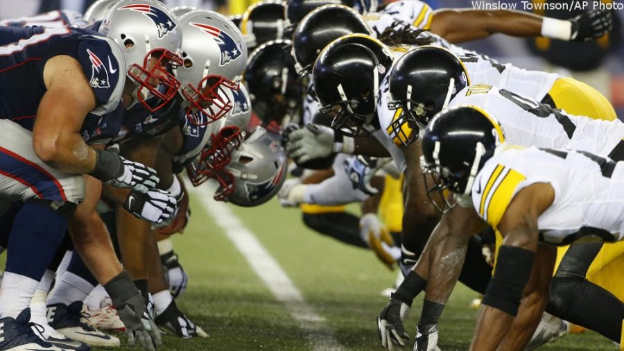 The+Patriots+facing+the+Steelers+in+the+AFC+championship+game.