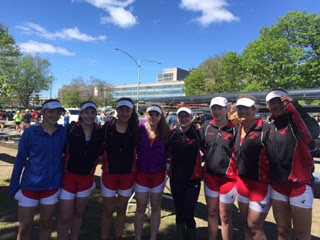 The 1st Varsity boat (left to right: Katie McDowell, Gill Mehigan, Gianna Merion, Maureen McGonagle, Lauren Mitchell, Aisling Cunningham, Anne Lipsett, and Nicole Merian) poses before their first race.