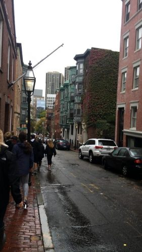 Ms. O'Connor's class walking down Beacon Hill (before the rain).