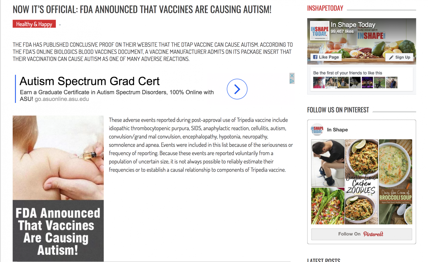 A screencap of an article from the site Inshapetoday.com that incorrectly claims that vaccines cause autism. The article was posted in November 2017.