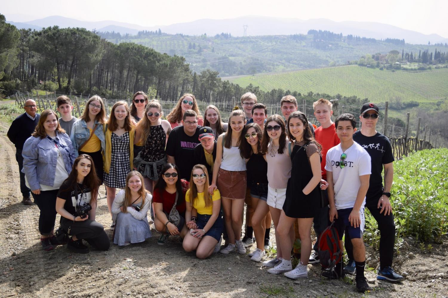 All choral students and director Doctor Younge visit an olive orchard in Tuscany (Patty Mcdonald).