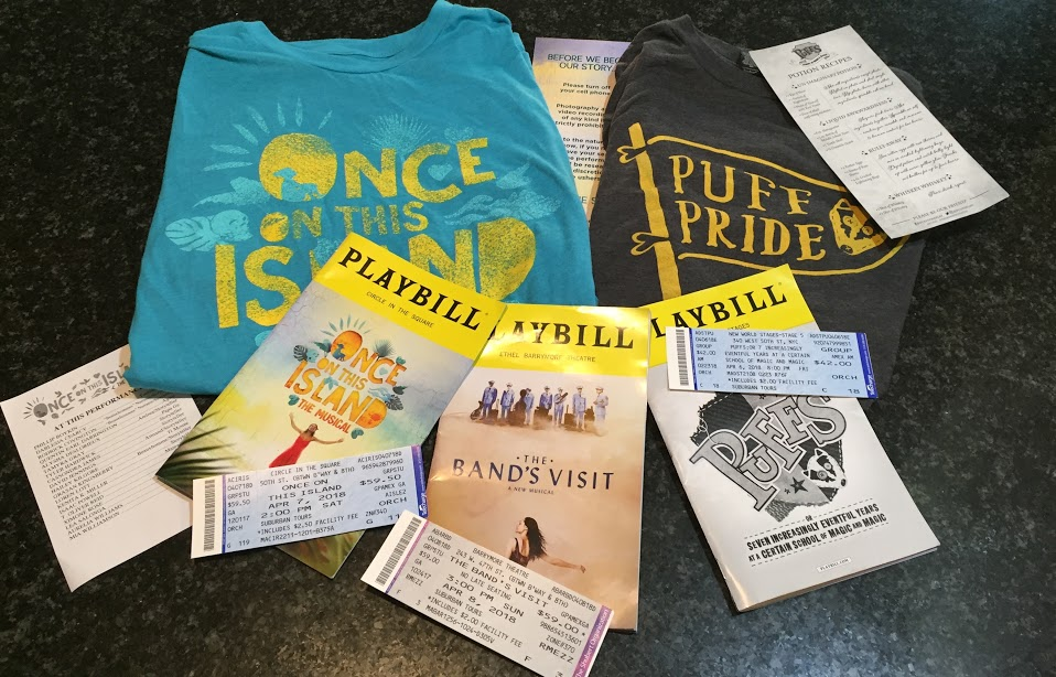 Some memorabilia, including playbills and tickets, from the three shows that the Drama Club saw on the New York trip.
