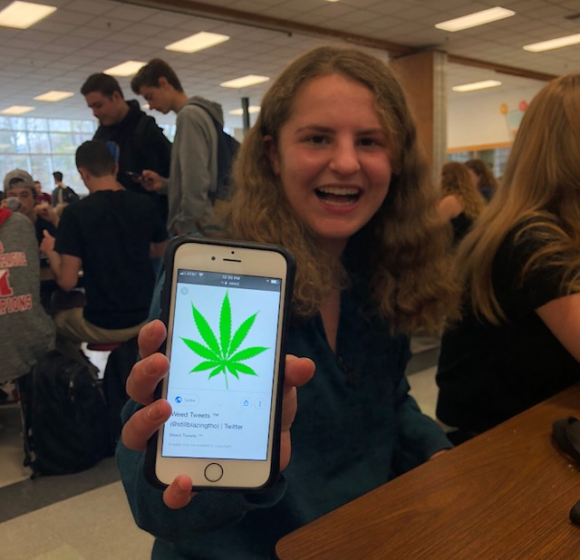 A+student%2C+who+requested+her+name+not+be+shared%2C+holds+up+a+cartoon+image+of+a+marijuana+leaf+to+remind+readers+of+the+focus+of+controversy+on+this+issue.+