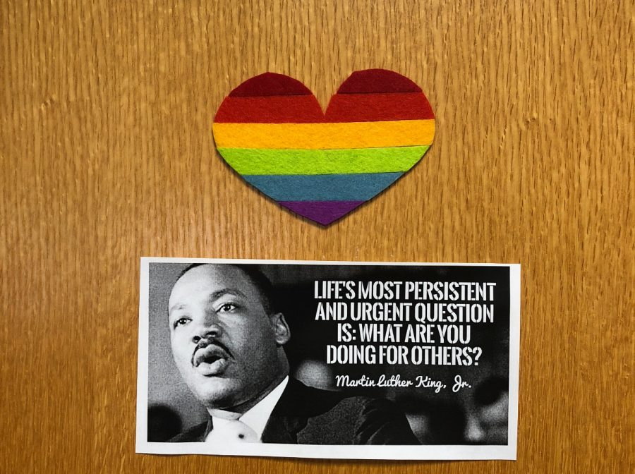 Principal+Swanson+taped+a+rainbow+heart+above+the+Martin+Luther+King+Jr.+quote+on+his+door+to+show+support+for+Hingham%27s+LGBT%2B+students+and+faculty.
