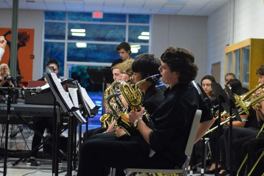 The+high+school+Jazz+band+opened+their+set+with+the+piece%2C+%22Ornithology.%22+The+talented+saxophone+players+range+from+8th+to+12th+grade.+The+piece+featured+solos+from+many+musicians+including+Delia+Delorie+on+piano.