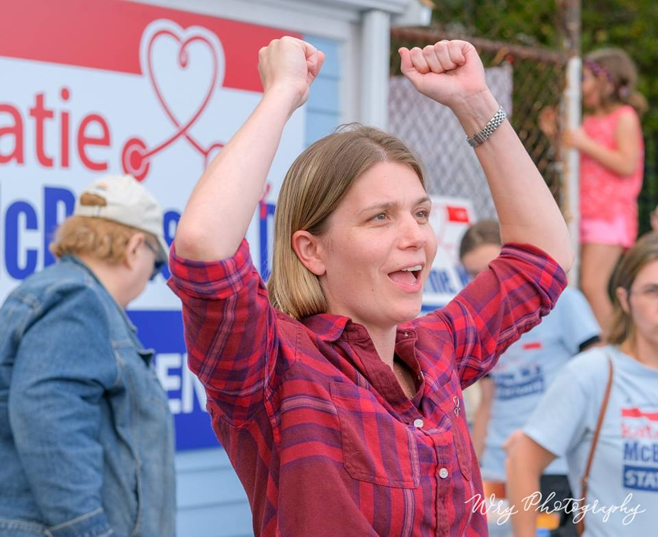 Katie McBrine celebrates the opening of her new office in Weymouth on Sep. 24. Photo by Wry Photography.