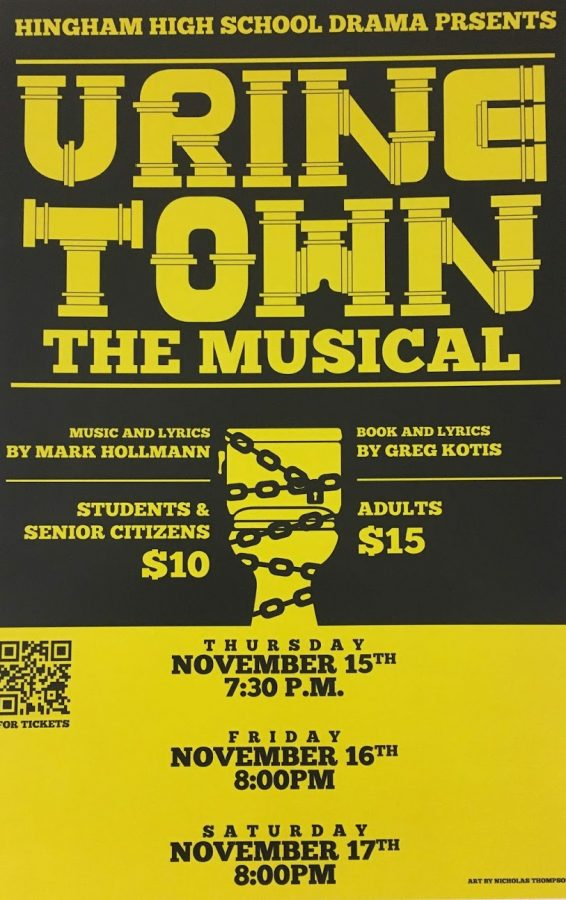 Artwork+designed+by+Nick+Thompson.+This+is+one+of+the+many+beautiful+posters+being+put+up+around+Hingham+High+school+to+advertise+the+upcoming+musical.