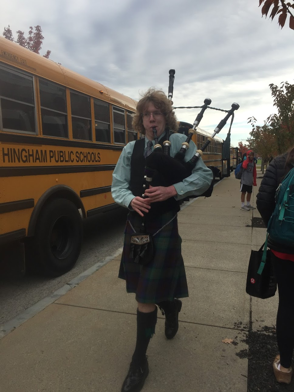 Junior Lucas Webber went all out for his Halloween costume, playing the bagpipes as he walked around the school.