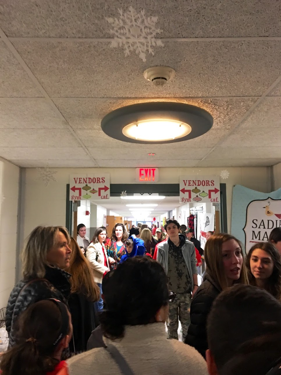 The crowed main hallway during the fair.