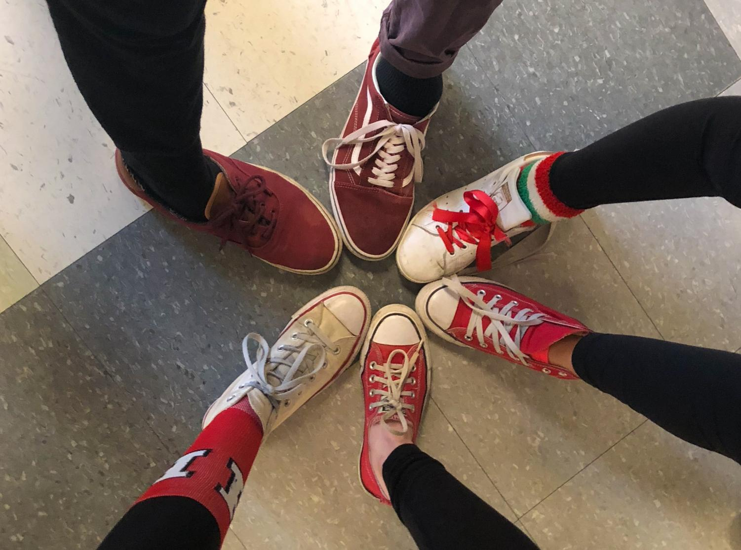 Students Harry Hull, Nick DeSilva, Caroline Johannes, Beth Lane, Avery O'Connor and Claire Haney show off their Hingham-inspired footwear choices.