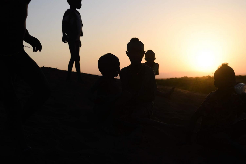 The breathtaking sunset on the horizon of Kenya.