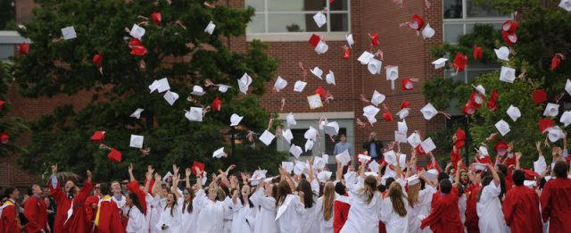 Graduating+classes+have+worn+red+and+white+in+the+past.+Photo+via+hinghamschools.org.