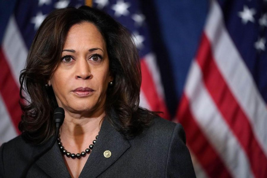 Sen.+Kamala+Harris+is+an+early+frontrunner+in+the+Democratic+primary+race.+Pictured+here+during+a+2017+news+conference.+%28Photo+by+Chip+Somodevilla%2FGetty+Images%29