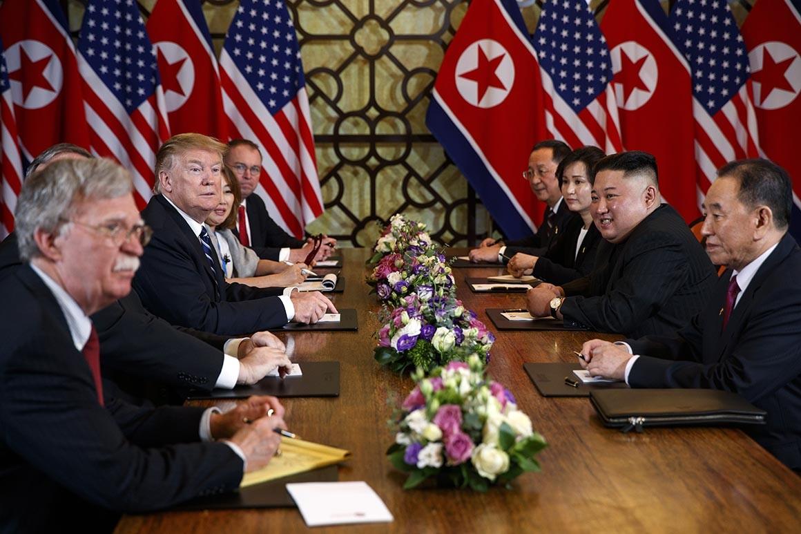 Trump and Kim Jong-Un at this week's talks. (AP Photo: Evan Vucci)