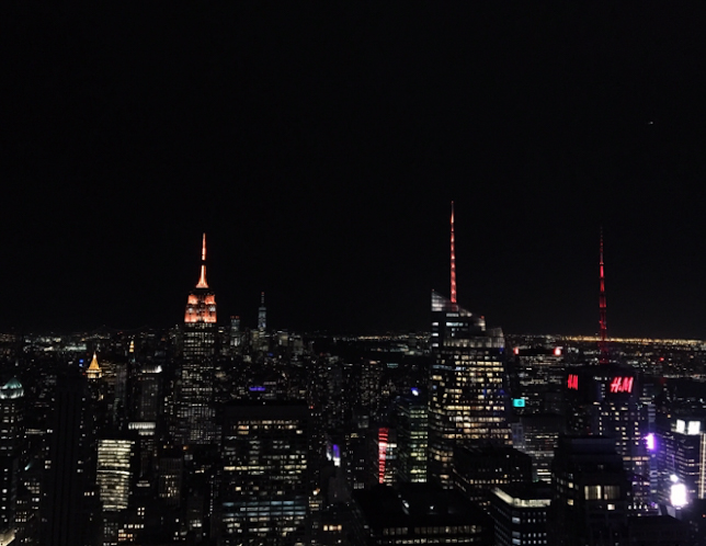 Manhattan skyline from the Top of the Rock observatory at night.