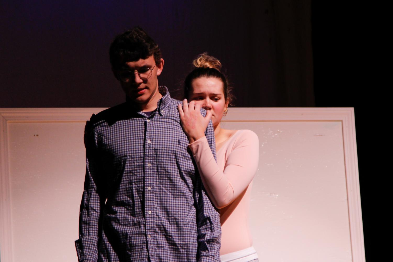 Ophelia (Senior Casey Hussey) embraces Jeb (Senior Andersson Perry) after a vulnerable moment.