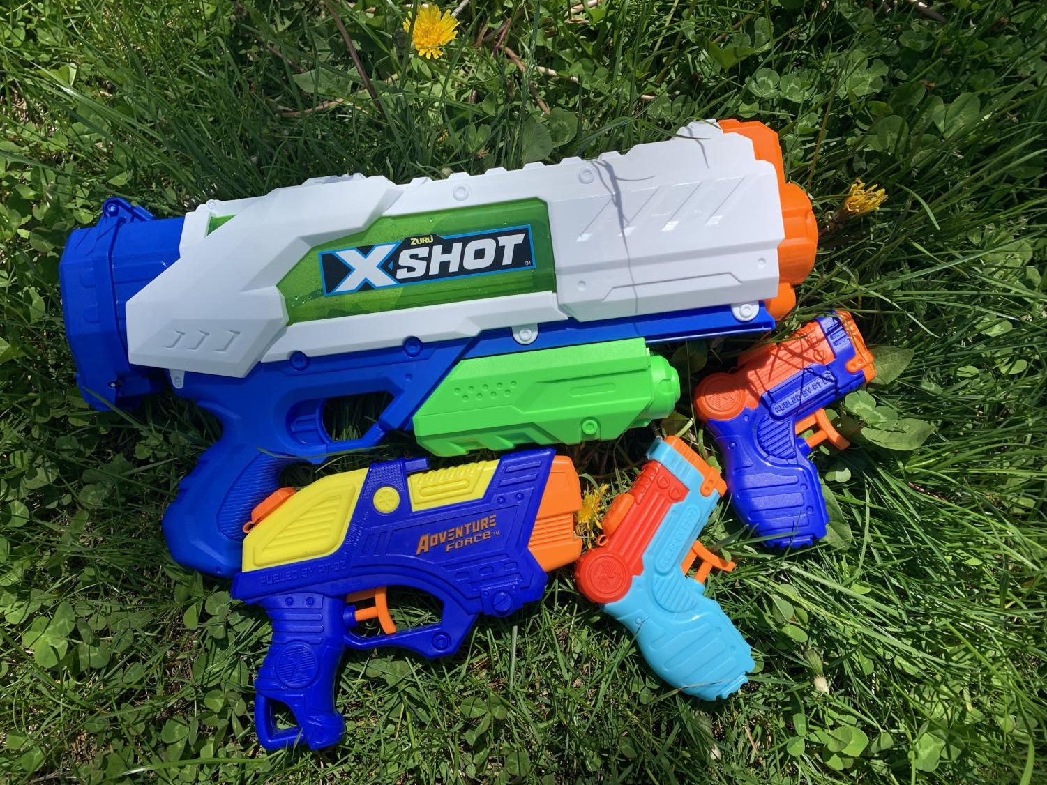 Senior participants in Senior Assassin gather a variety of water guns in order to be best prepared for the game.