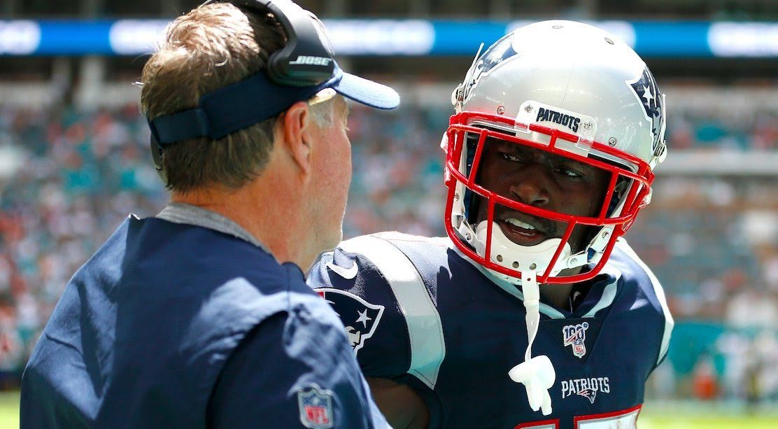 Antonio Brown seen here with Head Coach Bill Belichick at the Dolphin's game last Sunday.