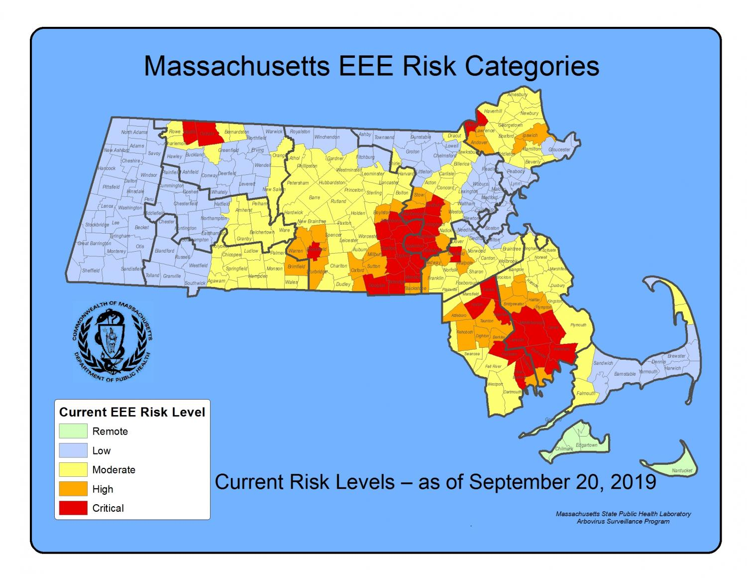 EEE has been detected in towns close to Hingham, including Barnstable and  Plymouth.  Massachusetts Dept. of Health