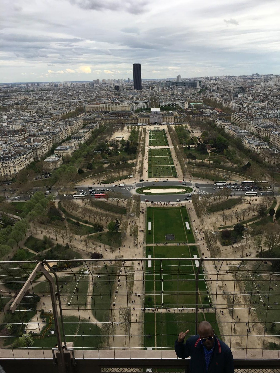 My view of the city of Paris from the top of the Eiffel Tower.