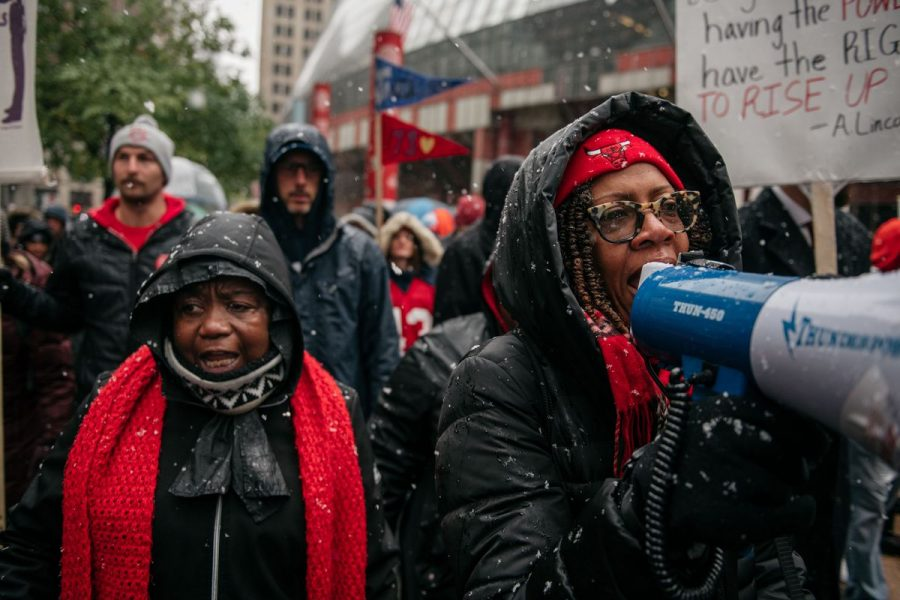 Strikers+gather+in+downtown+Chicago%2C+Illinois+on+Thursday%2C+October+17.+About+25%2C000+teachers+took+part+in+the+11-day+strike%2C+which+they+pitched+as+a+fight+for+equity+in+a+city+which+has+long+struggled+fiscally.+