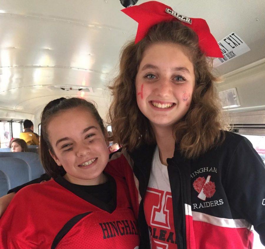 Freshmen+Alexandria+Dumas+%28right%29+and+Haley+Cogill+%28left%29+show+their+school+and+Halloween+Spirit+by+dressing+as+a+football+player+and+cheerleader.