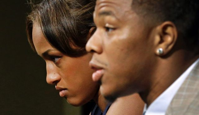 Janay Rice, left, with her husband, Baltimore Ravens running back Ray Rice.