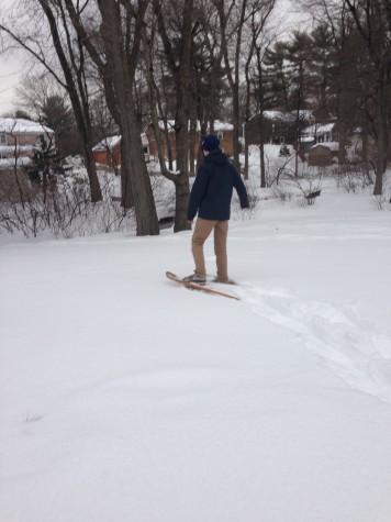 Hingham resident Matt Dwyer snowshoeing.
