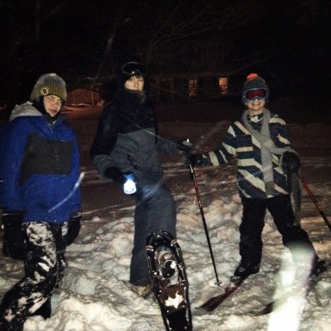 Hingham residents Greg McInnis, Tim Dwyer, and Johnny Dwyer get ready to ski and snowboard in the abundant snow.