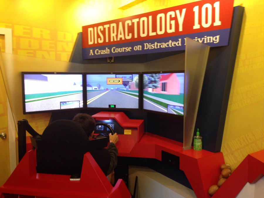 The arcade-style set up creates a driving experience for participants.