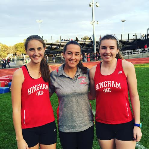 Ms. Hebert with XC captains, Kristine McLellan and Charlotte Ide