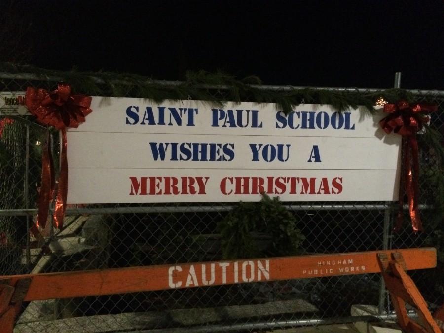 Saint Paul's School sign hung up