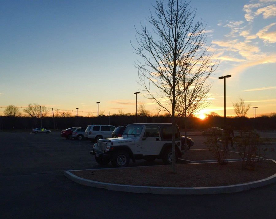 The empty far lot in the morning