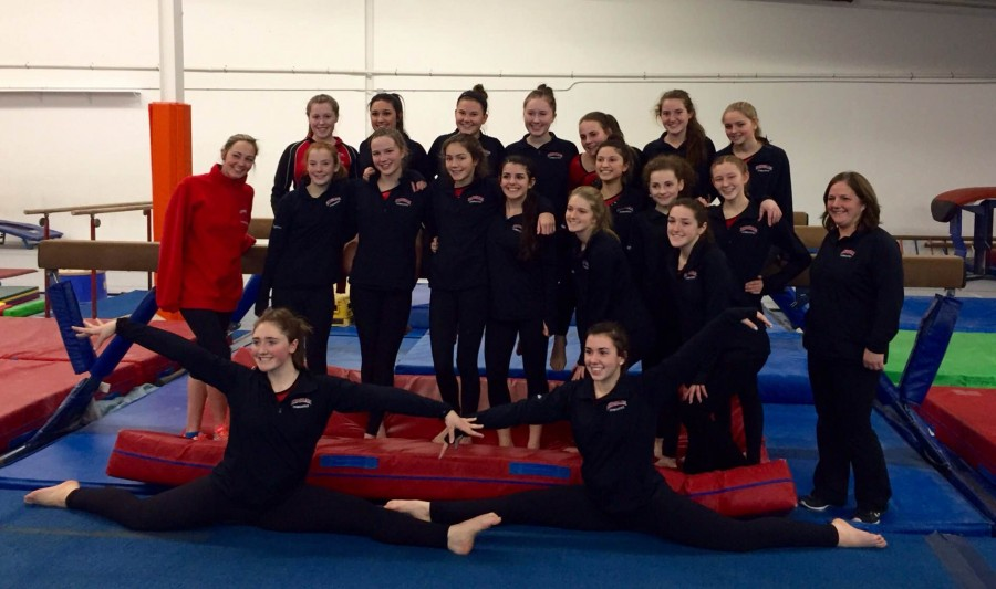 The gymnastics team before the start of the meet.