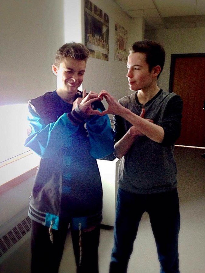 Freshmen Will Sutton and David Mills joke about their bromance in between classes before Valentine's Day.