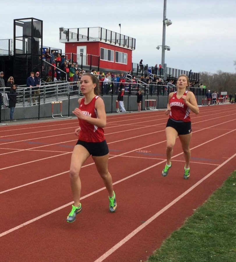 Laurene Del Aguilla and Severine Fortin in the Girls 4x400 relay