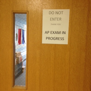 The language lab door remains shut during so that students can concentrate during the oral portion of their exams.