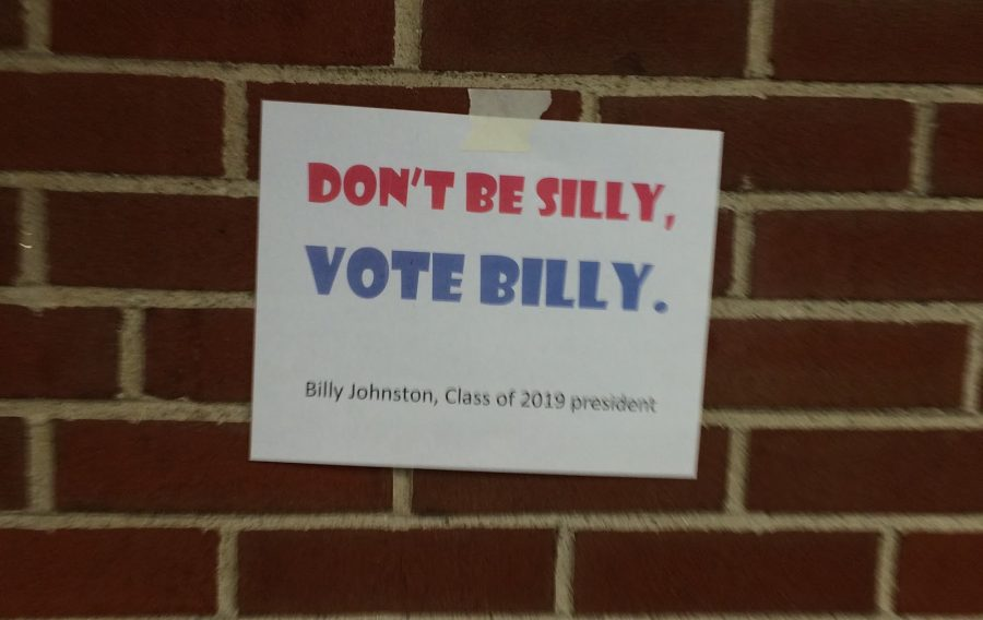 A campaign sign for Presidential candidate Billy Johnson