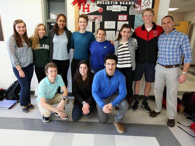 The seniors of suicide prevention: (top row left to right) Casey Cosgrove, Kenzie Shea, Gabby Parker, Josh Crosby, Molly Rabinovitz, Emily Carrick, Chris Bierwirth, (bottom row) Will Kellem, Laura DiPesa, and Andrew Rubino