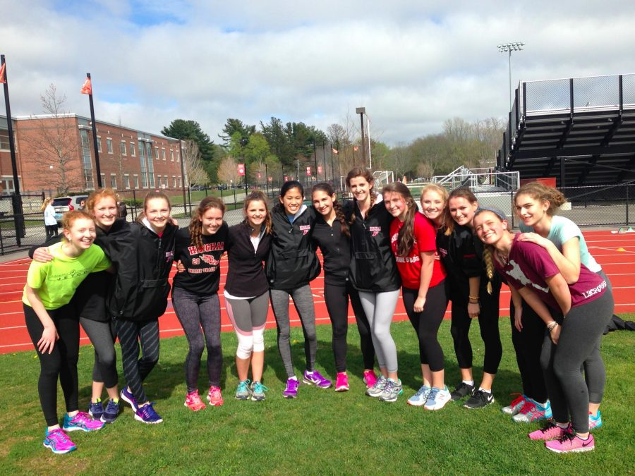 The+HHS+girls+sprinting+team+is+all+smiles+for+the+meets+next+week.+