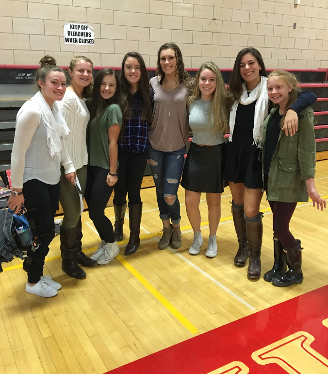 From left to right sophomores Julia Salvucci, Hannah Leawack, Kara May, Kayla Collins, Olivia Davies, Abby Fennelly, Liv Casey, and Ali Henderson dressed for fall.