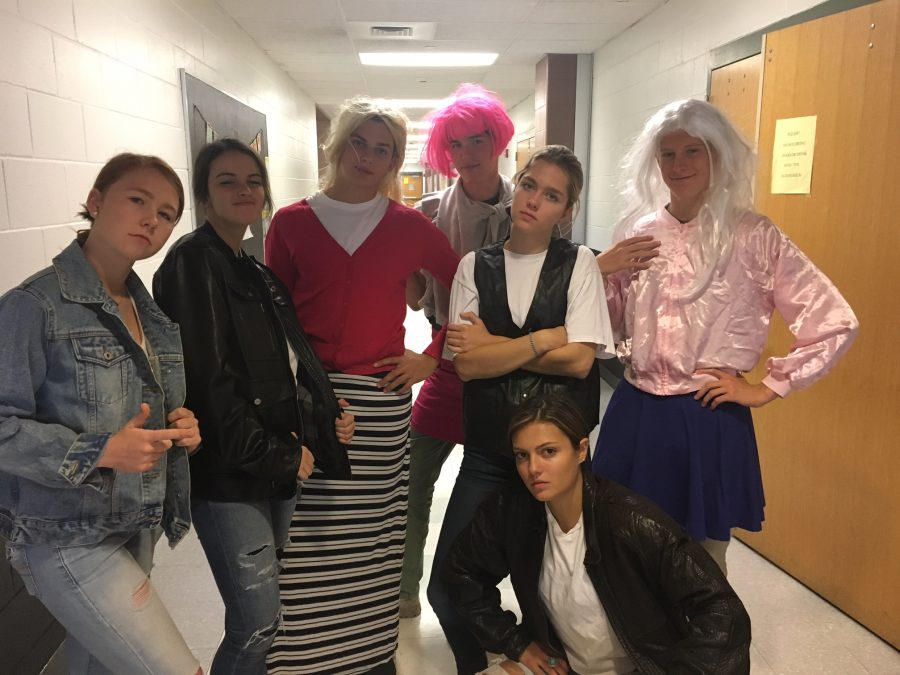 Seniors (left to right) Emma Ranocha, Elizabeth Croteau, Brad Patterson, Nick Raphaelson, Claire Stone, Olivia Million, and Devon Oakley dressed up for their lip sync performance of the song Summer Lovin' from the musical Grease.