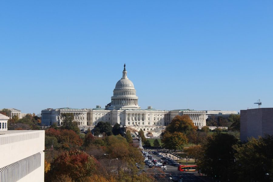 The United States Capitol building as it prepares for the Presidential Inauguration next year. To the far left, the Supreme Court of the United States resides with only 8 sitting justices.
