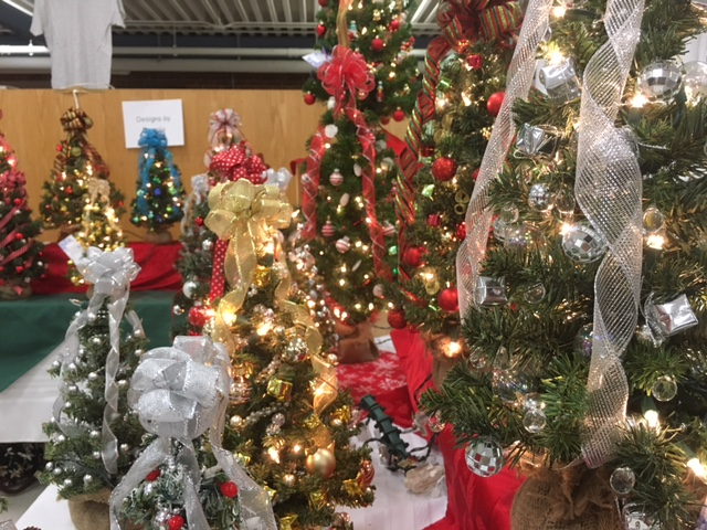 Some festive trees decorated with lights and ornaments.