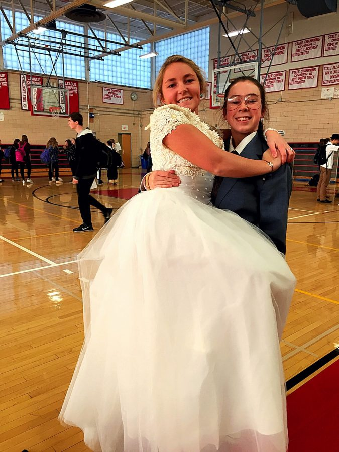 The+marriage+of+seniors+Emma+Rowe+and+Mary-Kate+Brennan+took+place+in+the+gym+the+morning+of+fancy+day+at+Hingham+High.