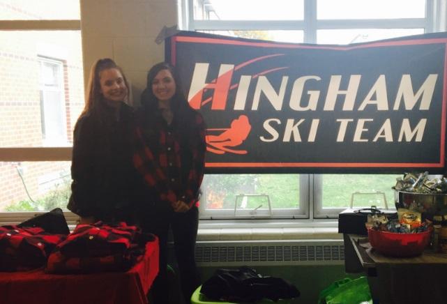 Senior+Ski+Team+captains+Halle+Sullivan+and+Amelya+Redman+sell+Hingham+merchandise+at+the+29th+annual+Sport+and+Ski+Sale.