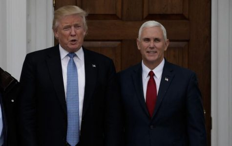 President-elect Donald Trump stands beside Vice President-elect Mike Pence.