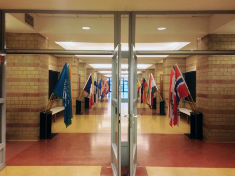 ASW's main entrance is decorated with flags of all the nationalities of former and current ASW students.