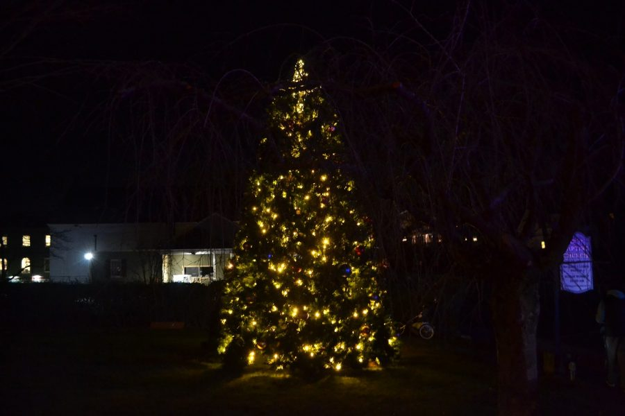 An illuminated Christmas Tree outside the Old Ship Parish House.