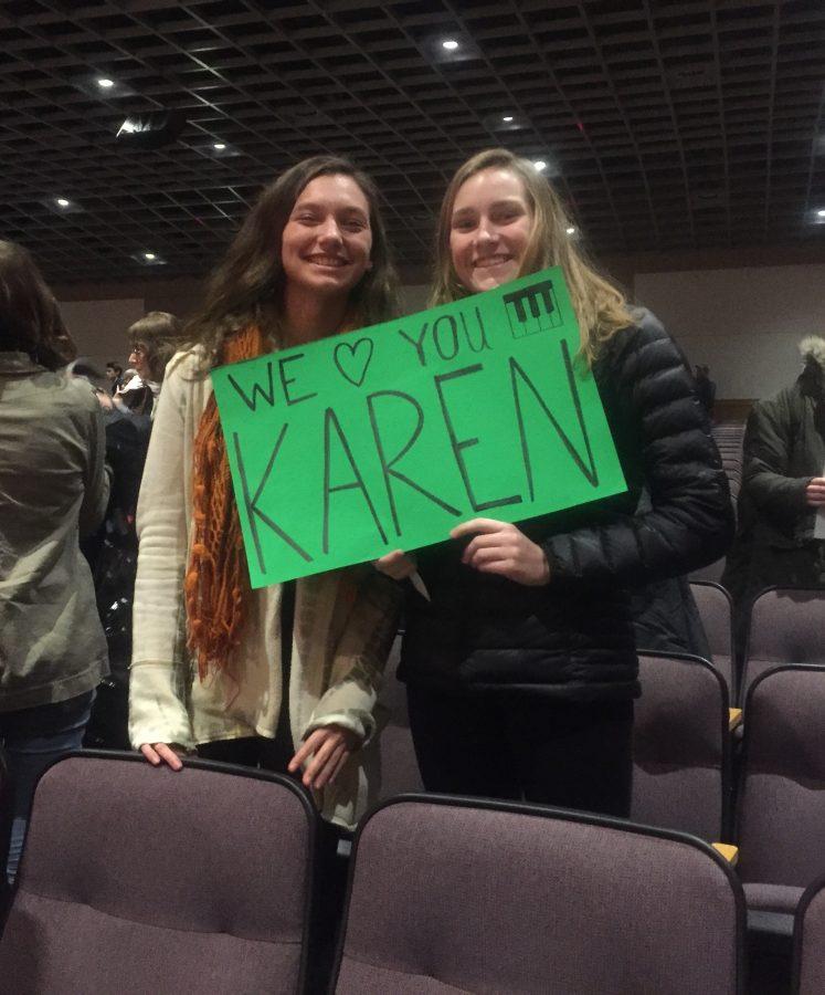 Juniors+Hannah+Kerber+and+Margaret+Strehle+sporting+a+%22we+heart+Karen+Ji%22+sign+supporting+the+chorus.++